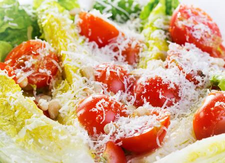 Parmesan: fresh salad with cherry tomatos and parmesan