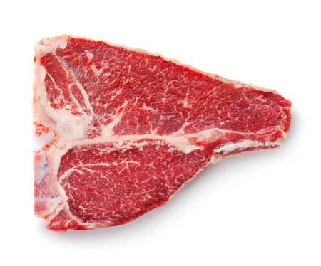 carne de res: filete de carne fresca cruda t-bone aislado en fondo blanco Foto de archivo