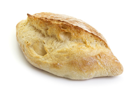 french bread: close-up view of fresh ciabatta isolated on white background