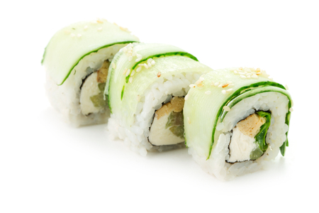 susi: three susi rolls with cucumber isolated on white background