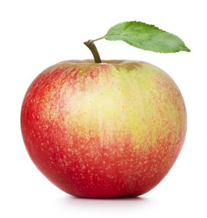 manzanas: sola manzana madura con la hoja aislada en el fondo blanco Foto de archivo