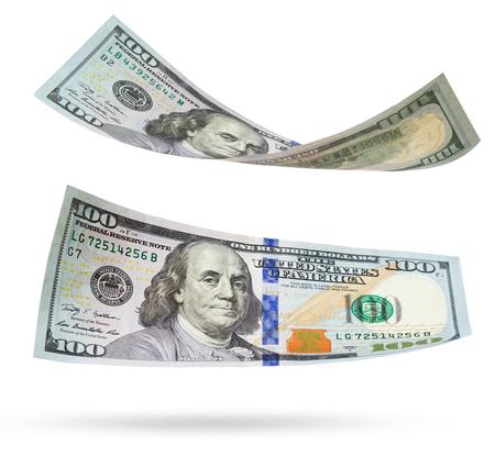 greenbacks: one hundred dollars isolated on white background