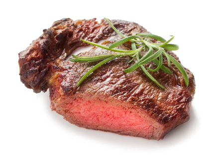 fillet steak: medium roast rib-eye steak isolated on white background