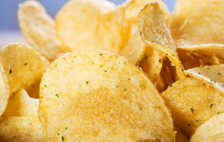 closeup view: close-up view of heap of potato chips