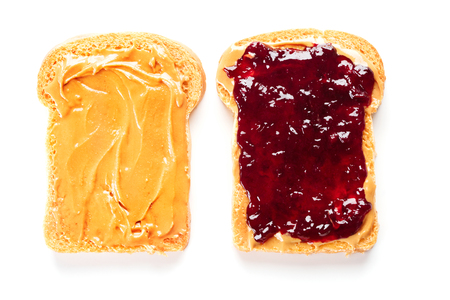 sandwich with peanut butter and jelly isolated on white background 版權商用圖片