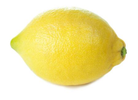 whole single yellow lemon isolated on white background 스톡 콘텐츠