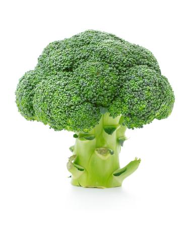 single broccoli isolated on white background