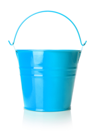 close-up view of light blue bucket on white background
