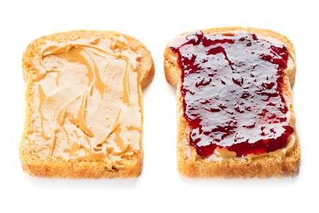 sandwich with peanut butter and jelly isolated on white background Foto de archivo