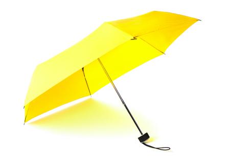 single yellow umbrella isolated on white background