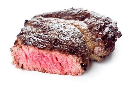 rear roast rib-eye steak isolated on white background