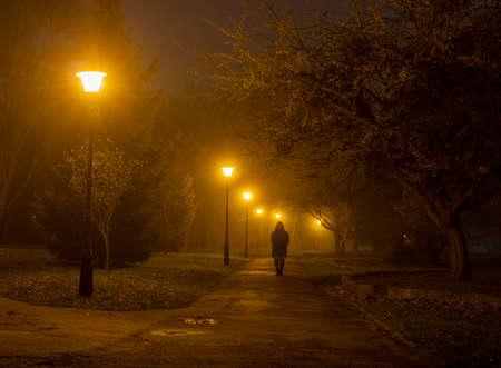 Night misty park and passerby man Standard-Bild