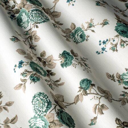 Cotton textile background, fabric blue provence flowers. Cotton Provence Fabrics.