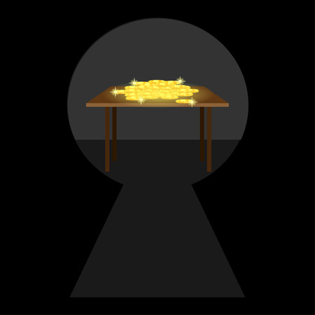 gold keyhole: Keyhole at what table with gold coins