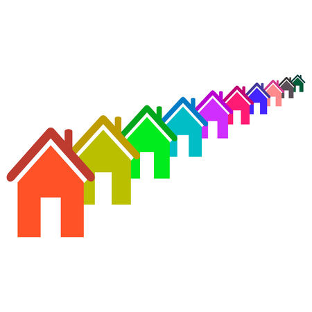 violet residential: Set of colored houses on white background.House abstract concept icon Illustration