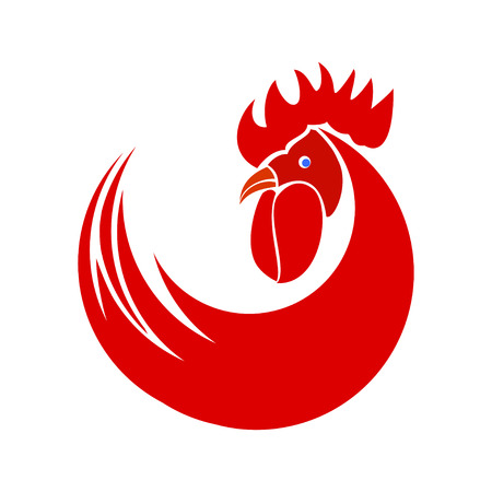 Red rooster. Symbol of New Year 2017 icons on a white background