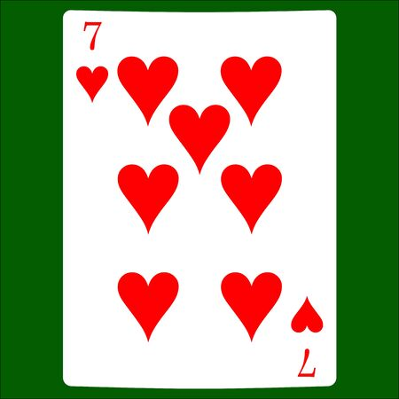 Seven hearts. Card suit icon vector, playing cards symbols vector