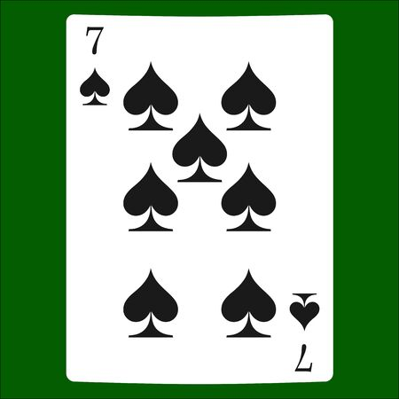 Seven spades. Card suit icon vector, playing cards symbols vector Stock Illustratie
