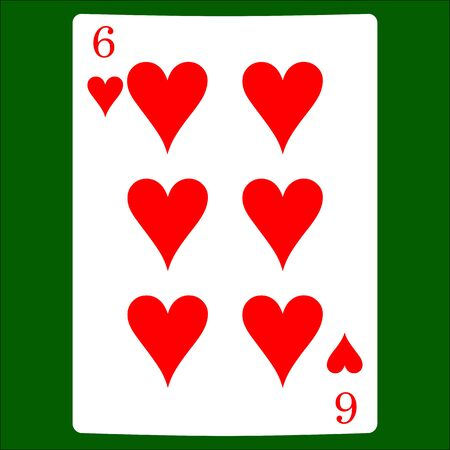 Six hearts. Card suit icon vector, playing cards symbols vector Stock Illustratie