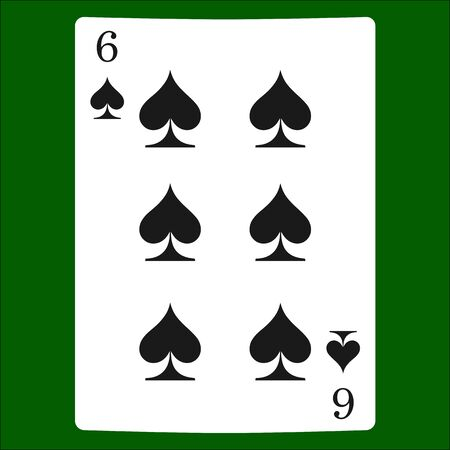 Six spades. Card suit icon vector, playing cards symbols vector