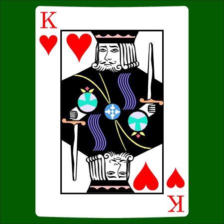 King hearts. Card suit icon vector, playing cards symbols vector Vectores