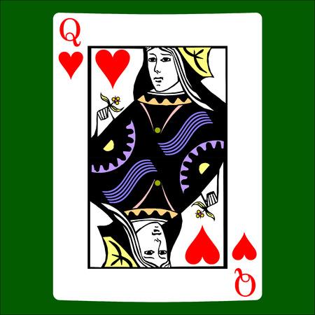 Cuori di regina. Vettore dell'icona del vestito della carta, vettore di simboli delle carte da gioco Archivio Fotografico - 98787099