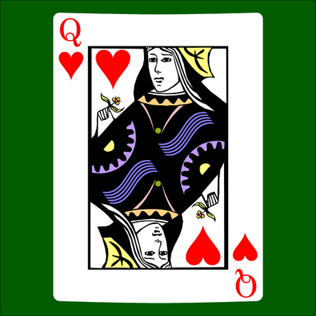 Queen hearts. Card suit icon vector, playing cards symbols vector