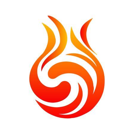 Beautiful symmetrical fire. Icon illustration for design - stock vector