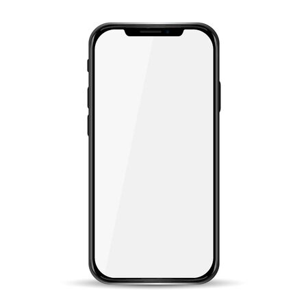 Realistic black phone, communication technology device - vector Stock Illustratie