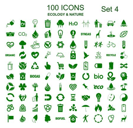 Set 4 of 100 ecology icons - stock vector
