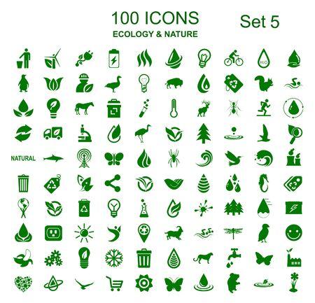 Zestaw 5 100 ikon ekologii - Grafika wektorowa