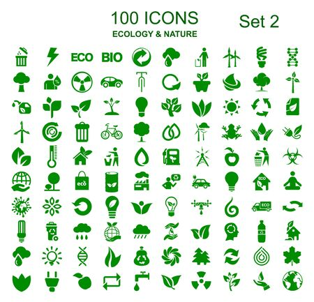 Set 2 of 100 ecology icons - stock vector Stock Illustratie