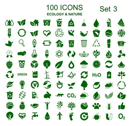 Set of 100 ecology icons - stock vector