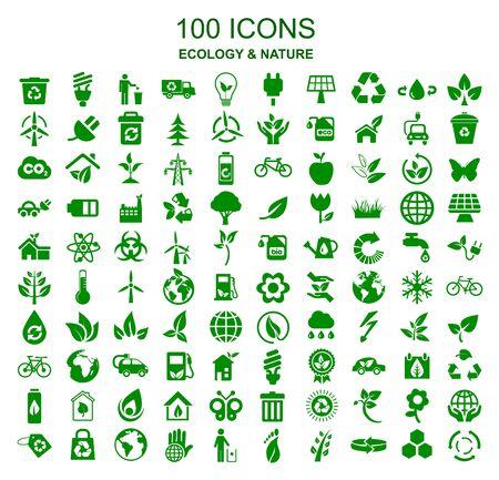 Ensemble de 100 icônes de l'écologie - Vectoriels Vecteurs