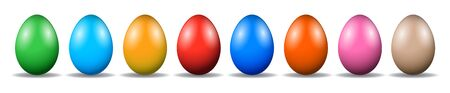 Eight Easter eggs, Collection of colored eggs - vector Stock Illustratie