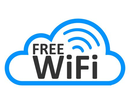 Free wifi zone in cloud - stock vector