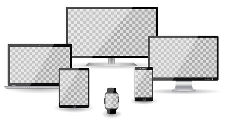 Set of four devices - vector illustration for stock