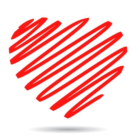 Hand painted red heart, one line - stock vector