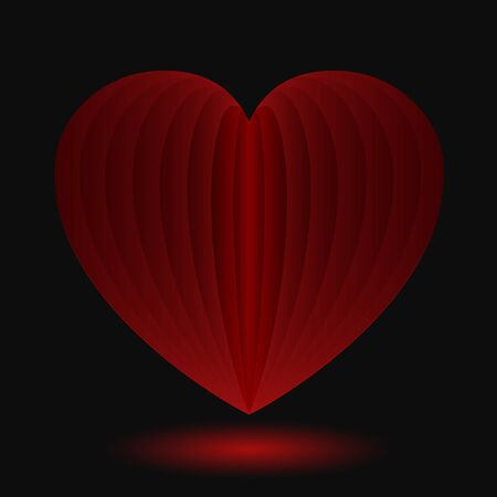Red heart on a black background - vector Stock Illustratie