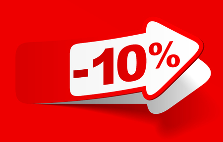 Discount of 10 percent on red background - vector illustration Ilustração