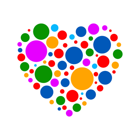 Colorful heart of layers on white background.