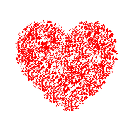 Drawn red heart on white background.