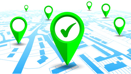 GPS navigator pointer on city map - for stock Vector illustration.