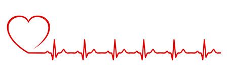 Heart pulse, one line - stock Vector illustration.