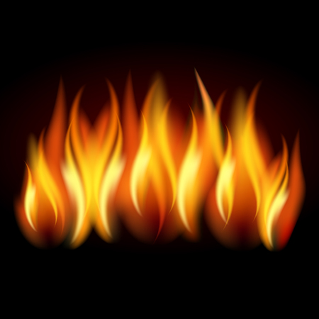 Realistic flame, fire on black background - stock Vector illustration.