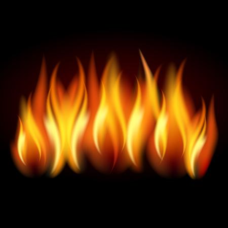 Realistische Flamme, Feuer auf schwarzem Hintergrund - Vektorillustration auf Lager.