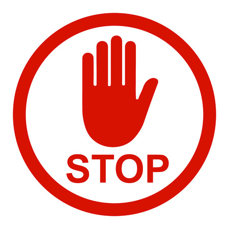 Stop sign icon with hand in circle - stock Vector illustration.