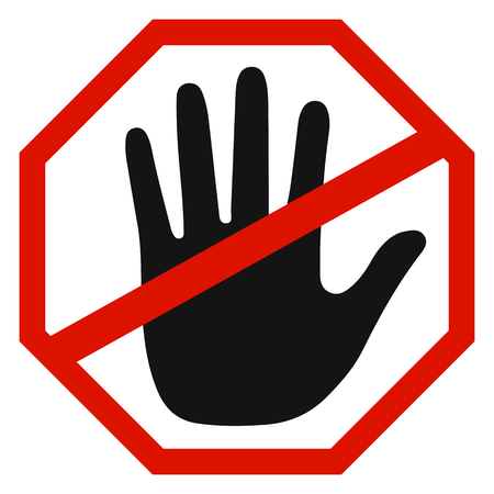 Stop sign icon with hand - vector illustration