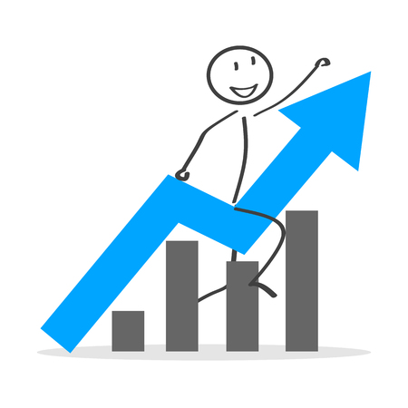 Business success with man in an arrow up chart