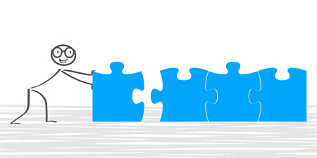 Het concept van het bouwen met de mens die de vector van raadselstukken bouwt